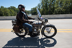 Terry Richardson of Kansas riding his 1916 Harley-Davidson twin-cylinder 3-speed during the Motorcycle Cannonball Race of the Century. Stage-4 from Chillicothe, OH to Bloomington, IN. USA. Tuesday September 13, 2016. Photography ©2016 Michael Lichter.