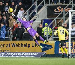 Falkirk's keeper Danny Rogers. Falkirk 2 v 0 Livingston, Scottish Championship game played 29/12/2015 at The Falkirk Stadium.