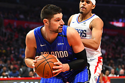 January 6, 2019 - Los Angeles, CA, U.S. - LOS ANGELES, CA - JANUARY 06: Orlando Magic Center Nikola Vucevic (9) drives to the basket during a NBA game between the Orlando Magic and the Los Angeles Clippers on January 6, 2019 at STAPLES Center in Los Angeles, CA. (Photo by Brian Rothmuller/Icon Sportswire) (Credit Image: © Brian Rothmuller/Icon SMI via ZUMA Press)