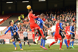 Orient's Mathieu Baudry heads the ball - Photo mandatory by-line: Mitchell Gunn/JMP - Tel: Mobile: 07966 386802 22/02/2014 - SPORT - FOOTBALL - Brisbane Road - Leyton - Leyton Orient V Swindon Town - League One
