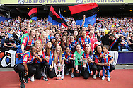 Crystal Palace FC ladies celebrate winning the FA Premier League South East Division 1 and the Surrey Cup during half time break. Barclays Premier League match, Crystal Palace v Stoke City at Selhurst Park in London on Saturday 7th May 2016. pic by John Patrick Fletcher, Andrew Orchard sports photography.