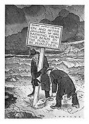 (a cartoon showing two workmen putting a sign on a beach indicating that public bathing from the beach will be permitted after 1 January 1945))