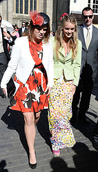 Left to right, PRINCESS EUGENIE and CRESSIDA BONAS at the wedding of Lady Natasha Rufus Isaacs to Rupert Finch held at St.John The Baptist Church, Cirencester, Gloucestershire, UK on 8th June 2013.