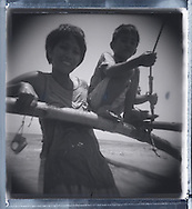 Family portrait of a mother and her son, Palawan Island, Philippines, Southeast Asia