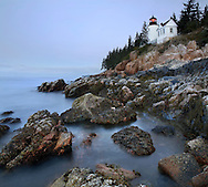 The Bass Harbor Head Light, One Of Several Classic Lighthouses Of New England On A Cool And  Rainy Autumn Morning In Gloomy Pre Dawn Light, Acadia National Park, Maine, USA
