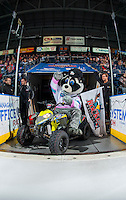 KELOWNA, CANADA - JANUARY 27: Rocky Racoon, the mascot of the Kelowna Rockets sits on his quad hamming it up for the camera as he enters the ice against the Kamloops Blazers on January 27, 2017 at Prospera Place in Kelowna, British Columbia, Canada.  (Photo by Marissa Baecker/Shoot the Breeze)  *** Local Caption ***