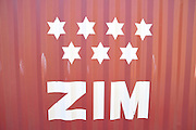 Zim Integrated Shipping Service logo on a shipping container