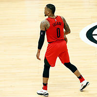 18 March 2018: Portland Trail Blazers guard Damian Lillard (0) brings the ball up court during the Portland Trail Blazers 122109 victory over the LA Clippers, at the Staples Center, Los Angeles, California, USA.