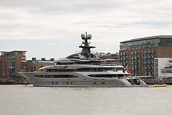© Licensed to London News Pictures. 28/09/2016. LONDON, UK. The Super-yacht Kismet on the River Thames in London. Kismet is 308 feet long and is owned by Pakistani-American billionaire Shahid Khan, who has reportedly made an £800 million bid to buy Wembley Stadium. Photo credit: Vickie Flores/LNP
