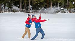 02.01.2015, for Friends, Mösern, AUT, FIS Ski Sprung Weltcup, 63. Vierschanzentournee, OeSV Pressekonferenz, im Bild v.r.: Michael Hayböck (AUT) und Stefan Kraft (AUT) bei einer Schneeballschlacht // Michael Hayböck of Austria and Stefan Kraft of Austria on a snowball fight before Pressconference of Austrian Team of the 63rd Four Hills Tournament of FIS Ski Jumping World Cup at the for Friends Hotel, Mösern, Austria on 2015/01/02. EXPA Pictures © 2015, PhotoCredit: EXPA/ JFK