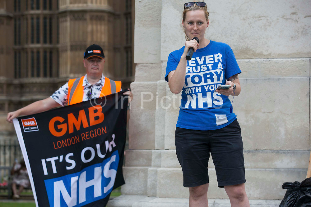 Occupational therapist Jordan Rivera addresses NHS workers from the grassroots NHSPay15 campaign outside Parliament before a march to 10 Downing Street to present a petition signed by over 800,000 people calling for a 15% pay rise for NHS workers on 20th July 2021 in London, United Kingdom. At the time of presentation of the petition, the government was believed to be preparing to offer NHS workers a 3% pay rise in recognition of the unique impact of the pandemic on the NHS.