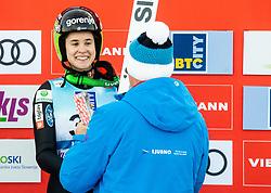 Third placed Ursa Bogataj of Slovenia celebrates during Trophy ceremony after the 2nd Round at Day 1 of World Cup Ski Jumping Ladies Ljubno 2019, on February 8, 2019 in Ljubno ob Savinji, Slovenia. Photo by Matic Ritonja / Sportida