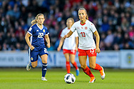 Lia Walti (#13) of Switzerland on the ball during the 2019 FIFA Women's World Cup UEFA Qualifier match between Scotland Women and Switzerland at the Simple Digital Arena, St Mirren, Scotland on 30 August 2018.