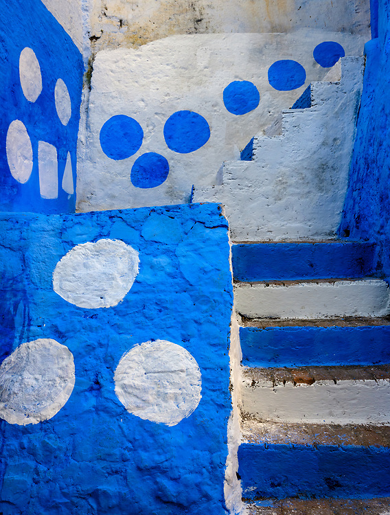 CHEFCHAOUEN, MOROCCO - CIRCA MAY 2018: Colorful streets of Chefchaouen