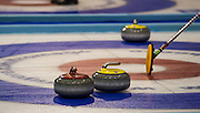 """Glasgow. SCOTLAND.  Lining up the shot using the """"Sweeping Brush"""", as an alignment point,  """"Round Robin"""" Game. Le Gruyère European Curling Championships. 2016 Venue, Braehead  Scotland<br /> Tuesday  22/11/2016<br /> <br /> [Mandatory Credit; Peter Spurrier/Intersport-images]"""