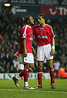 -SHAUN BARTLETT GETS HIS MATCHING ORDERS FROM REF MR N BERRY AFTER HAND BALLBARCLAYS PREMIERSHIP-06 Nov-04-TOTTENHAM v Charlton-PIC BY KIERAN GALVIN / COLORSPORT