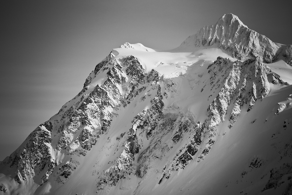 Ski tracks and clearing on the Shuksan Arm near Mount Baker Ski Area Washington.