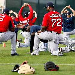 February 17, 2011; Fort Myers, FL, USA; Boston Red Sox first baseman David Ortiz (center) talks with teammates Yamaico Navarro (72) and Hector Luna (17) during spring training at the Player Development Complex.  Mandatory Credit: Derick E. Hingle