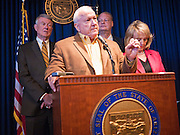 09 MAY 2011 - PHOENIX, AZ: RUSSELL PEARCE, President of the Arizona State Senate, LEFT, and Governor JAN BREWER, during a press conference at the Arizona State Capitol in Phoenix Monday. Governor Jan Brewer, State Senate President Russell Pearce and Attorney General Tom Horne, all Republicans, held one press conference to announce that the state was suing to take its legal battle over SB1070, Arizona's tough anti-immigration law, past the US Court of Appeals and straight to the US Supreme Court. State Senator Steve Gallardo, a Democrat, held a press conference to announce that he was opposed to the Republican's legal actions and called on them to drop the suit altogether. Isolated shouting matches broke out between activists on both sides of the immigration issue during the press conferences.       Photo by Jack Kurtz