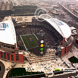 Aerial view of Seattle Washington Sports Stadiums, Qwest Stadium, home of the Seahawks and Safeco Field and Mariners.