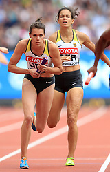 Germany's Svea Kohrbruck and Nadine Gonska in the Women's 4x400m Relay heat two during day nine of the 2017 IAAF World Championships at the London Stadium. PRESS ASSOCIATION Photo. Picture date: Saturday August 12, 2017. See PA story ATHLETICS World. Photo credit should read: Adam Davy/PA Wire. RESTRICTIONS: Editorial use only. No transmission of sound or moving images and no video simulation.