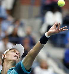 NEW YORK, Sept. 11, 2017  Kevin Anderson of South Africa serves during the Men's singles final match against Rafael Nadal of Spain at 2017 US Open in New York, the United States, Sept. 10, 2017. Rafael Nadal won 3-0 to claim the title. (Credit Image: © Qin Lang/Xinhua via ZUMA Wire)