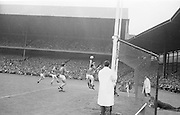View of the goal at the All Ireland Minor Gaelic Football Final Mayo v. Down in Croke Park on the 25th September 1966.