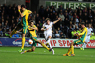 Swansea city's Michu © goes really close to scoring a 2nd but his shot goes just wide. UEFA Europa league match, Swansea city v FC Kuban Krasnodar at the Liberty Stadium in Swansea, South Wales on Thursday 24th October 2013. pic by Andrew Orchard, Andrew Orchard sports photography,