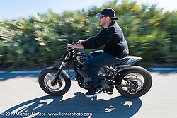 """Zach Ness of Arlen Ness Motorcycles in Dublin, CA out for a ride on his custom Ironhead Sportster """"Street-Tracker"""" during Daytona Bike Week. FL, USA. March 14, 2014.  Photography ©2014 Michael Lichter."""
