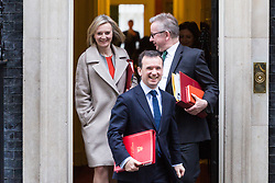 London - Chief Secretary to the Treasury Elizabeth Truss, Secretary of State for Environment, Food and Rural Affairs Michael Gove and Secretary of State for Wales Alun Cairns (centre) leaves the weekly meeting of the UK cabinet at Downing Street. January 23 2018.