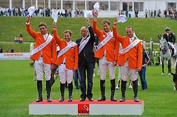 Team Netherlands winners of the FEI Nations Cup<br /> Jeroen Dubbeldam, Gerco Schroder, Rob Ehrens (chef d'equipe), Marc Houtzager, Leon THijssen<br /> CSIO Sankt Gallen 2012<br /> © Hippo Foto - Katja Stuppia