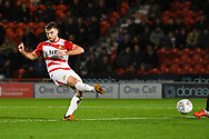 Ben Whiteman of Doncaster Rovers (8) passes the ball forward during the EFL Sky Bet League 1 match between Doncaster Rovers and Sunderland at the Keepmoat Stadium, Doncaster, England on 23 October 2018.