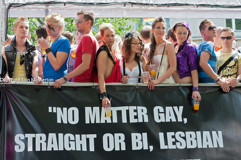 People partying on a float at Christopher Street Day Parade in Berlin Germany 2011
