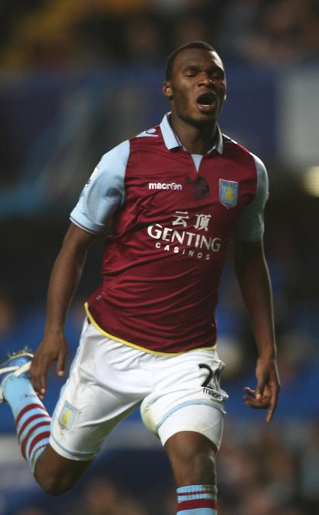 Aston Villa's Christian Benteke reacts..Football - Barclays Premiership - Chelsea v Aston Villa - Sunday 23rd December 2012 - Stamford Bridge - London..