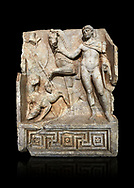 Roman Sebasteion relief  sculpture of Royal Hero with hunting dogs,  Aphrodisias Museum, Aphrodisias, Turkey.   Against a black background.<br /> <br /> A diademed youth stands with his horse and hunting dogs. At the left an oval shield (foreign) hangs from a leafless tree, against which leans a long thin club. The Royal hero in this and the relief to the left is probably a local founder such as Assyrian King Ninos, claimed as founder of their city by the Aphrodisians. .<br /> <br /> If you prefer to buy from our ALAMY STOCK LIBRARY page at https://www.alamy.com/portfolio/paul-williams-funkystock/greco-roman-sculptures.html . Type -    Aphrodisias     - into LOWER SEARCH WITHIN GALLERY box - Refine search by adding a subject, place, background colour, museum etc.<br /> <br /> Visit our ROMAN WORLD PHOTO COLLECTIONS for more photos to download or buy as wall art prints https://funkystock.photoshelter.com/gallery-collection/The-Romans-Art-Artefacts-Antiquities-Historic-Sites-Pictures-Images/C0000r2uLJJo9_s0