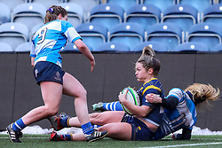 Hannah Bluck of Worcester Warriors Women is stopped short of the try line by Rosie Blount of DMP Durham Sharks - Mandatory by-line: Nick Browning/JMP - 09/01/2021 - RUGBY - Sixways Stadium - Worcester, England - Worcester Warriors Women v DMP Durham Sharks - Allianz Premier 15s