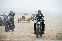 Grant Peterson and Mike Davis of Born Free ride back to the pits from the finish line at TROG West - The Race of Gentlemen. Pismo Beach, CA, USA. Saturday October 15, 2016. Photography ©2016 Michael Lichter.