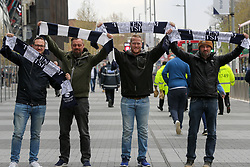 © Licensed to London News Pictures. 03/04/2019. London, UK. Spurs fan arrives at their new £400 million stadium as Tottenham Hotspur's play their first competitive game against Crystal Palace this evening. Photo credit: Dinendra Haria/LNP