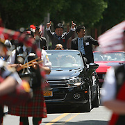 Hall of Fame inductee Myung-Woo Yuh is seen in the parade of champions during the 2013 International Boxing Hall of Fame induction ceremony  on Sunday, June 9, 2013 in Canastota, New York.  (AP Photo/Alex Menendez)