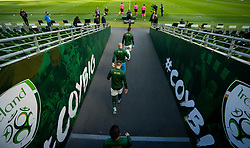 DUBLIN, REPUBLIC OF IRELAND - Sunday, October 11, 2020: Republic of Ireland players walk out of the tunnel before the UEFA Nations League Group Stage League B Group 4 match between Republic of Ireland and Wales at the Aviva Stadium. The game ended in a 0-0 draw. (Pic by David Rawcliffe/Propaganda)