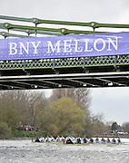 Putney - Chiswick, London,  Great Britain.<br /> Cambridge on the Surrey Station,  <br /> 2016 University Boat Race, Oxford vs Cambridge, Putney. Putney  to Mortlake, Championship Course. River Thames.<br /> <br /> Sunday  27/03/2016 <br /> <br /> [Mandatory Credit; Peter SPURRIER/Intersport-images]