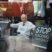 """A group of grandparents and elders have chained themselves together in a government department building in Westminster to urge the government to oppose """"dangerous"""" fracking June 13th 2018, Central London, United Kingdom.<br /> Philip Kingston, 80. """" It is so important the government takes climate change seriously and they are not doing it"""".<br /> <br /> Aged between 63 and 82, the 10-strong group from the South West - Grandparents for a Safe Earth (GFASE) - have occupied the Westminster building to demand that the Secretary of State for the Department for Business, Energy and Industrial Strategy Greg Clark refuse permission for fracking."""