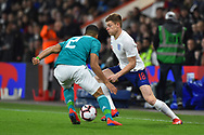 Harvey Barnes of England U21's on the attack during the U21 International match between England and Germany at the Vitality Stadium, Bournemouth, England on 26 March 2019.