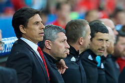LILLE, FRANCE - Friday, July 1, 2016: Wales manager Chris Coleman and assistant manager Osian Roberts ahead of the the UEFA Euro 2016 Championship Quarter-Final match against Belgium at the Stade Pierre Mauroy. (Pic by Paul Greenwood/Propaganda)