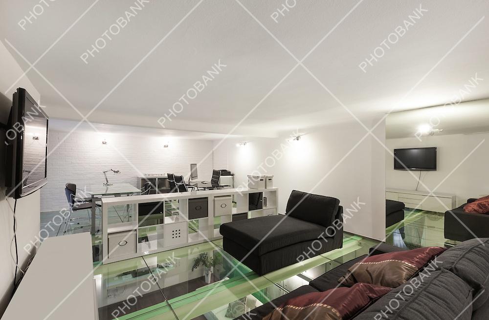 Architecture, wide loft with modern furniture, studio