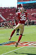 San Francisco 49ers cornerback Dontae Johnson (36) leaps and catches a pass during pregame warmups before the 2017 NFL week 1 regular season football game against the Carolina Panthers, Sunday, Sept. 10, 2017 in Santa Clara, Calif. The Panthers won the game 23-3. (©Paul Anthony Spinelli)
