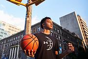 Harlem, NY- June 6: 6th grader basketball player Josh Rivera Jr. at Riverside Church in Harlem, New York. Johnnie Izquierdo/The Wall Street Journal