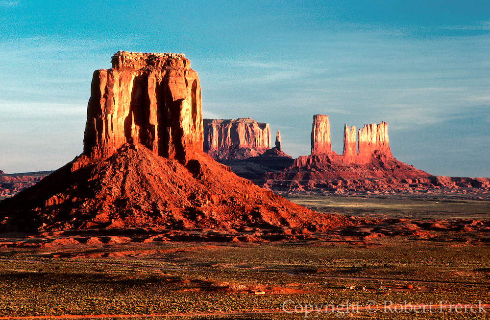 ARIZONA, MONUMENT VALLEY TRIBAL PARK Panorama of sandstone monuments as seen from Inspiration Point at sun rise