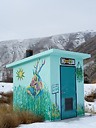 Outhouse painted by the Lemhi Art Guild, Elk Bend, Idaho.