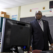 DENMARK, SOUTH CAROLINA - JANUARY 22: United States Congressman, James Clyburn, is shown a computer lab at Denmark-Olar High School  in Denmark, SC on January 22, 2020.  The school was able to purchase the computers through Clyburn's 10-20-30 anti- poverty bill. (Photo by Logan CyrusforThe Washington Post)